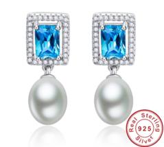 5.8ct 925 Sterling Silver Emerald Cut Blue Topaz Cz Fresh Water Pearl - $27.99
