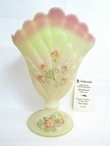 Fenton Art Glass Burmese Fan Vase Hand Painted Limited Edition 5/100 Sig... - $202.95