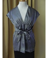 See by Chloe Silk Blouse Silver Charmeuse Wrap Top Tie Deep V-neck 8 44 - $88.11