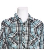 VTG Wrangler Plaid Cat Eye Pearl Snap Western Shirt Large Slim Fit Blue ... - $37.08 CAD