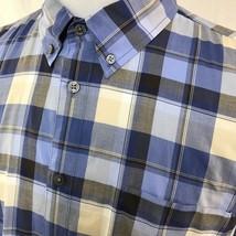 Men John Varvatos Long Sleeve Button Up Down Blue Plaid Shirt Light Cott... - $27.80