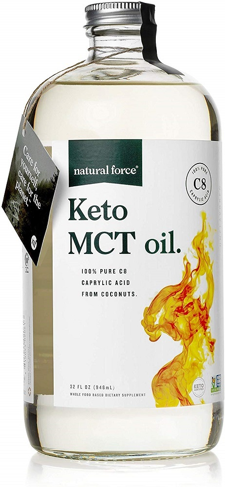 Primary image for Natural Force Keto MCT Oil, Pure C8 (Caprylic Acid) in Glass Bottle, 32oz | Best