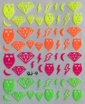 BANG STORE Nail Art 3D Decal Stickers Neon Diamonds Owls Lightning Bolts... - $3.68