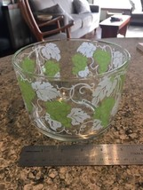 ICE BUCKET Vintage Glass Green Grapes White Leaves Ice Bucket Bowl bx32 - $17.41