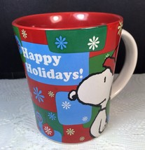 Snoopy Happy Holiday Snowflakes Mug Cup Christmas Peanuts Gibson Peace S... - $8.59