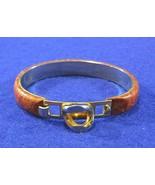 Vintage Bangle - Brown Alligator Leather - Gold Tone Link Accent - Hook ... - $14.50