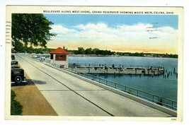 Boulevard Along West Shore Grand Reservoir Waste Weir Postcard Celina Oh... - $8.91
