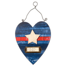 Darice Patriotic Heart Decor: Blue, 6.89 x 8.07 inches w - $9.99