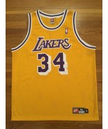 Authentic 1998 Nike Los Angeles Lakers Shaquille O'Neal Shaq Home Gold J... - $399.99