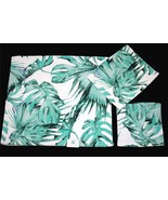 2 C-HOME MONSTERA Green Leaves Decorative Velour Bath Towels NEW - $42.99