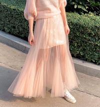 Women Blush Pink Tulle Maxi Skirt Blush Pink Sequin Tutu Mermaid Skirt Plus Size image 1