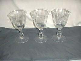 """3 Vintage Heisey Glass Crystal Heisey Rose 6.50"""" Water Goblets 5072 Optic NICE - $74.25"""