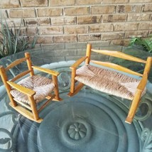 Vintage Wood Rocking Chair Bench Set Doll Bear Size Wooden Rush Bottom - $29.69