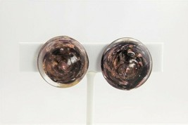 ESTATE VINTAGE Jewelry MURANO BLACK & AVENTURINE CASED SWIRL GLASS EARRI... - $10.00