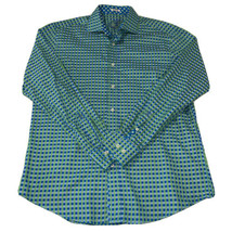 Bugatchi Uomo Shaped Fit Mens Green Blue Check Dress Button Shirt Size L... - $20.64