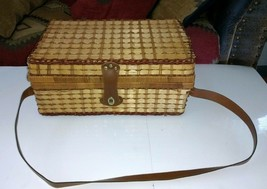 Large Woven WICKER PICNIC BASKET Service for 4 Set Suitcase Style Should... - $22.28