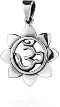 Sacred Prayer Sign Mystic Om Or Aum .925 Sterling Silver Pendant - $84.64