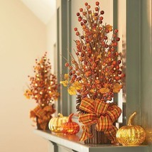 "Fall Boutique 24"" Pre Lit Fall Berry Tree Floral Arrangement Autumn Deco... - $59.39"