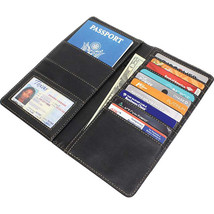 Passport Cover Black Leather Organizer Travel Wallet ID Holder Money Case - $12.75
