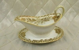 Vintage Nippon Gravy Boat and Saucer White and Gold Sauce Hand Painted Japan - $23.04