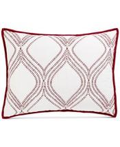 Martha Stewart Gramercy Gate Quilted Standard Sham Red Embroidery - $17.10