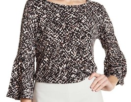 Ellen Tracy Blouse Pattern Bell Sleeve Women Top Medium Career Work New - $24.30