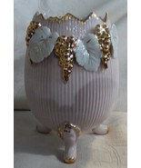 Antique Victorian Pink Large Pottery Egg Vase 3 Feet HP Gilt Grapes Whit... - $84.15