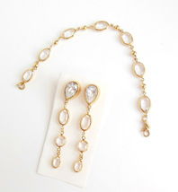 Vintage Monet Austrian Crystal Bezel Ladies Jewelry Pierced Earrings Bra... - $27.95