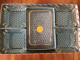 Vintage Jeanette glass 4 ashtray set w/ cigarette box/lid, 22 kt gold de... - $27.86