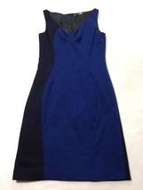 T Tahari 10 Navy Blue Colorblock Sheath Dress Sleeveless V Neck Womens - $19.99