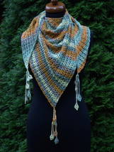 Crochet triangle Shawl, Wrap crochet Shawl, tassels with flowers, Baktus... - €41,37 EUR