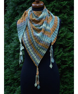 Crochet triangle Shawl, Wrap crochet Shawl, tassels with flowers, Baktus... - $45.00