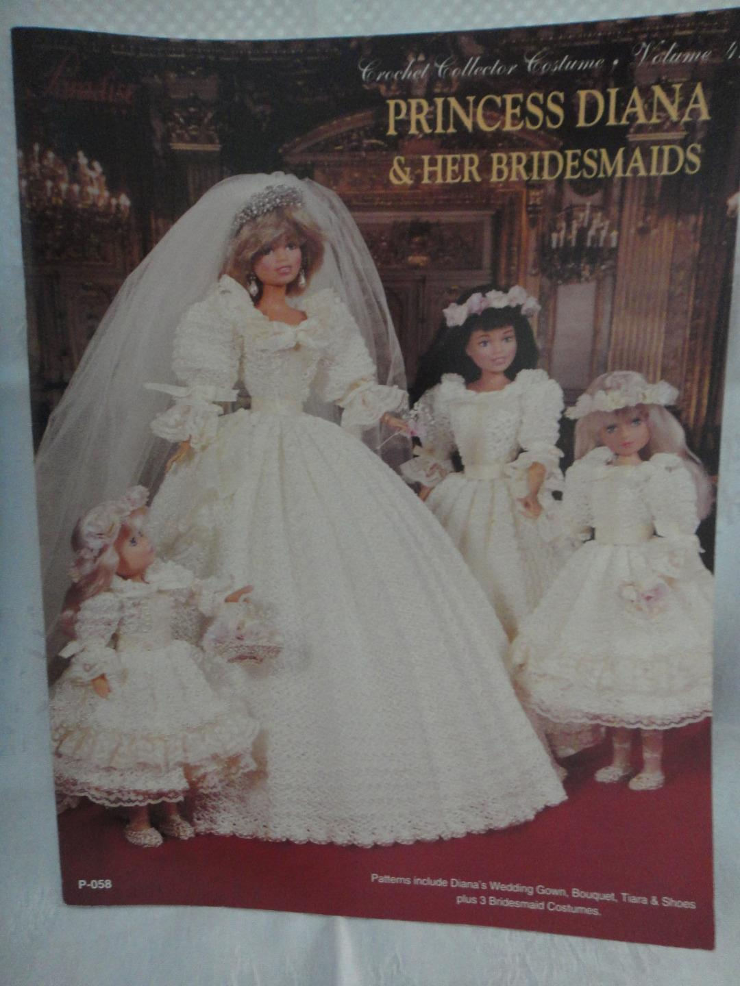 "Primary image for Paradise Crochet 11 1/2"" Doll Costume Pattern PRINCESS DIANA & HER BRIDESMAIDS"
