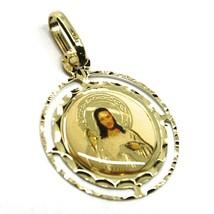 Pendentif Médaille, or Jaune 750 18K, Christ Miséricordieux, Double Cadre image 2