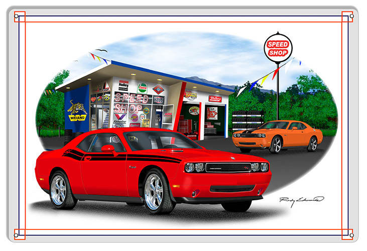 Primary image for Dodge Challenger Red Garage Art Metal Sign By Rudy Edwards  18x30