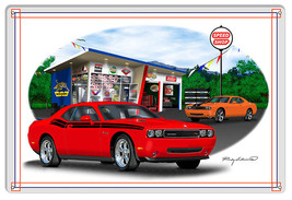 Dodge Challenger Red Garage Art Metal Sign By Rudy Edwards  18x30 - $51.48