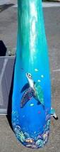 Sea Turtle hand painted Palm Tree Frond Nautical beach decor wall art ocean - £40.12 GBP