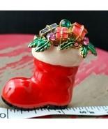 Vintage Eisenberg Christmas Santa Boot Brooch  - $41.74 CAD
