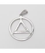 925 Sterling Silver Eminem Hip Hop Men Alcohlics Anonymous Logo Necklace... - $17.99