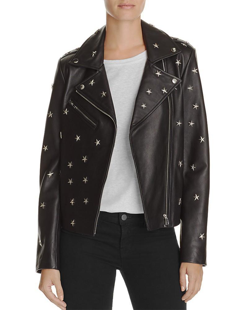 Studed leather jacket