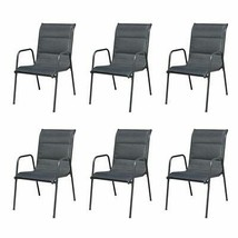 vidaXL 6x Outdoor Dining Chairs Stackable Metal Black Garden Patio Dinne... - $179.99