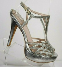VINCE CAMUTO Womens Size 6.5 Leather silver dress ankle strap sandals  ... - $45.89