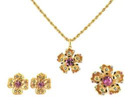 Vintage Stunning Parure Flower Pin Earrings Necklace Pin Craft Gem-Craft... - $116.99