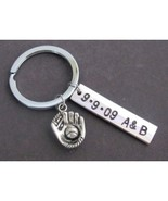Baseball Mitt Keychain,Couples Keychain,Date and Initial Hand Stamped,Ba... - $13.30