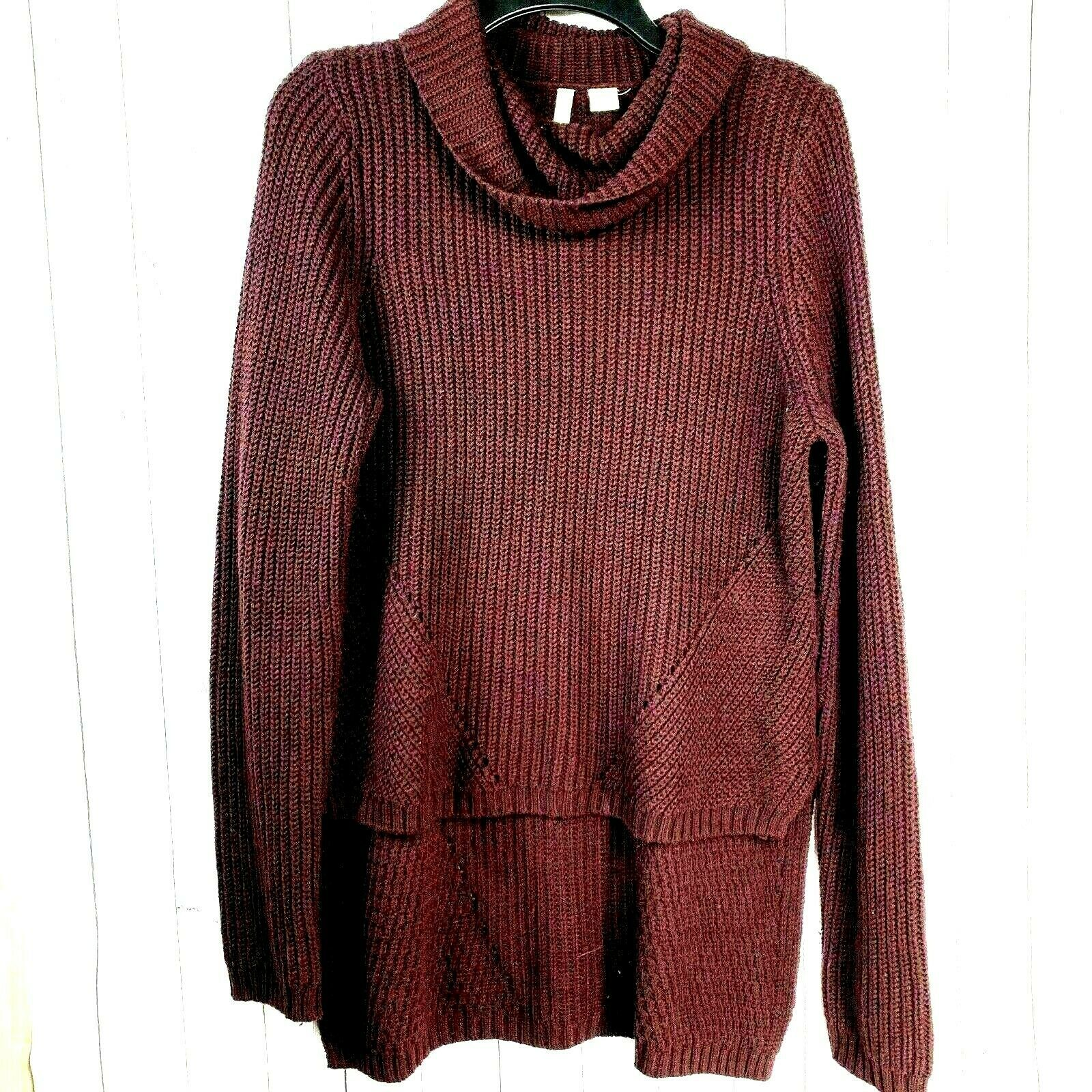 Primary image for Anthropologie MOTH sweater maroon purple hi lo Cowl neck Wool blend women medium