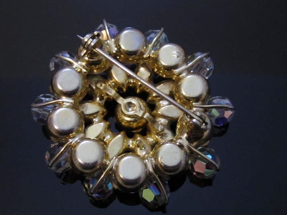 High End Large Ab Rhinestones & Crystal Starburst Vintage Pin Brooch*189D