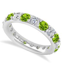 2.85 Ct Round Real Diamond & Peridot 14K Gold Full Eternity Wedding Band... - €778,15 EUR