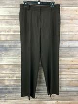 Ann Taylor Women's Brown Striped Wool Blend Dress Pants Size 4 Inseam 30 - $17.82
