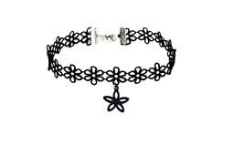 Simple Punk Trendy Black Flannel Hollow Flower Choker Necklace - $13.49