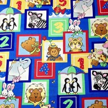 Noahs Ark Zoo Fabric Counting Two by Two Patty Reed Fabric Traditions Re... - $4.50